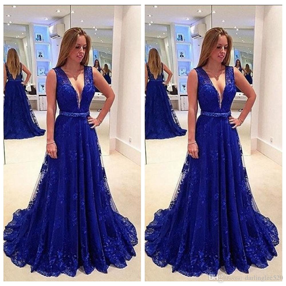 2019 Navy Blue Prom Evening Dress A Line V Neck Lace Tulle Belt Floor Length Sleeveless Backless Pageant Formal Party Maid Of Honor Dress