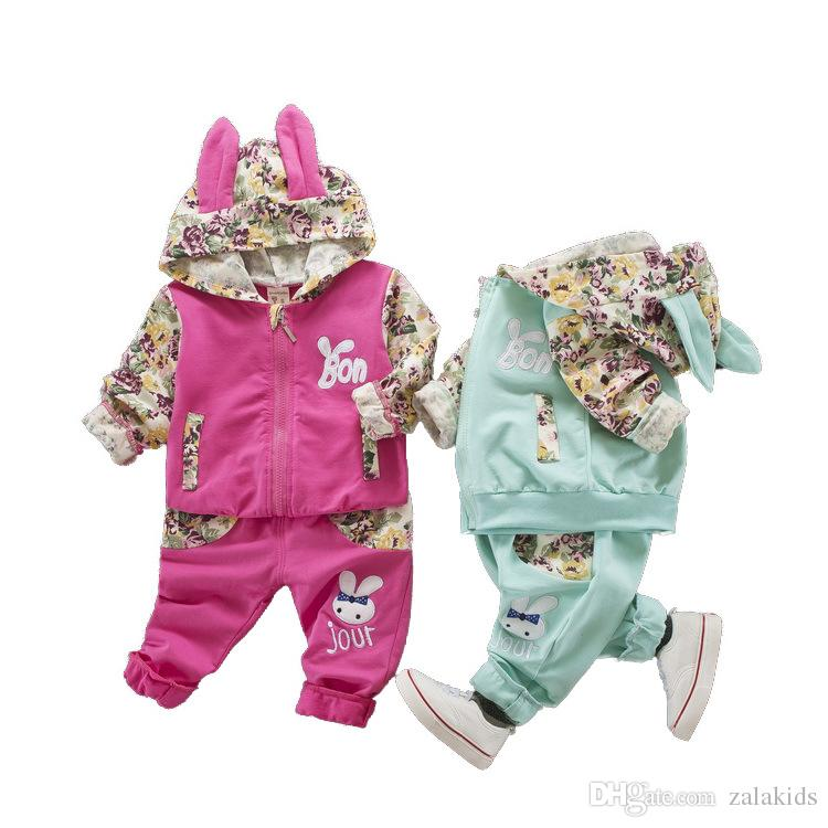 2018 Autumn Baby Girls Cartoon Clothing Sets kids rabbit hoodies Top +pants set 2 pieces,girls long sleeve Outfit suit