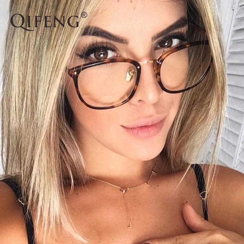 2a16de2b6e QIFENG Optical Eyeglasses Frame Women Computer Eye Glasses Myopia ...