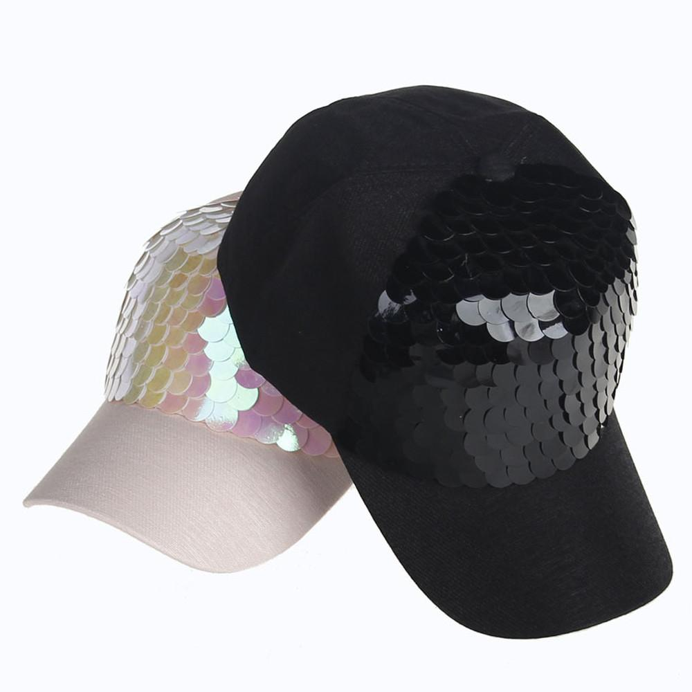 2ae49f490a3ec Fashion Women Ponytail Baseball Cap Sequins Shiny Messy Bun Snapback Hat  Sun Caps Summer Fall Hat Hip Hop 2018 Gorro Feminino Hats And Caps Skull  Caps From ...
