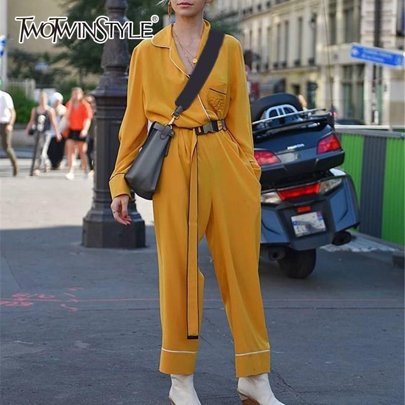 35133741a90 2019 TWOTWINSTYLE Yellow Jumpsuits Female Belt High Waist V Neck Long  Sleeve Women S Jumpsuit Autumn Fashion Big Size OL Clothes 2018 From  Trousseau