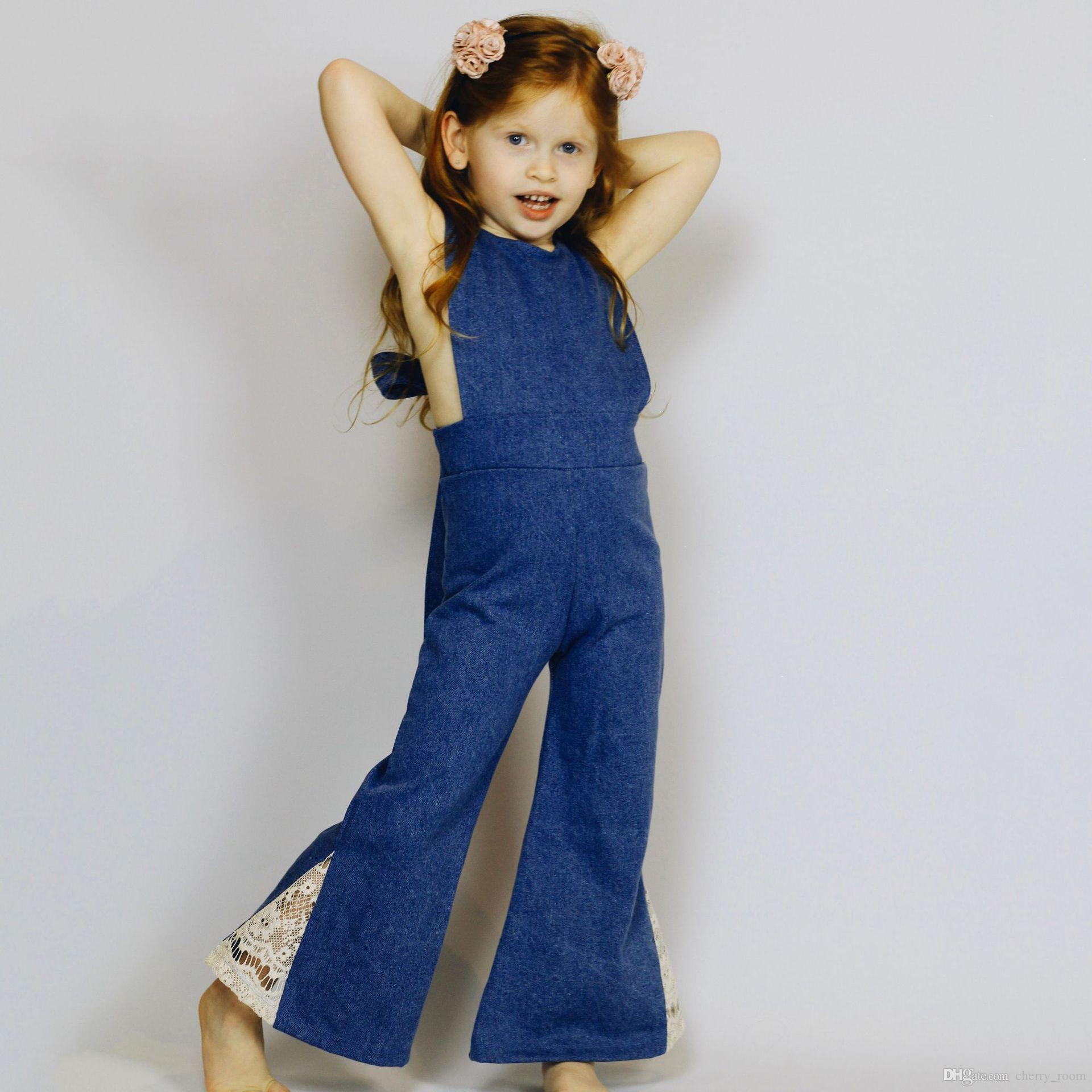 9358e44cd62 2018 Fashion Kids Girls Jumpsuits Baby Girl Overalls Jeans Cotton Bodysuits  Childrens Denim Backless Halter Rompers Boot Lace Pants A9603 Boys Dress  Pants ...