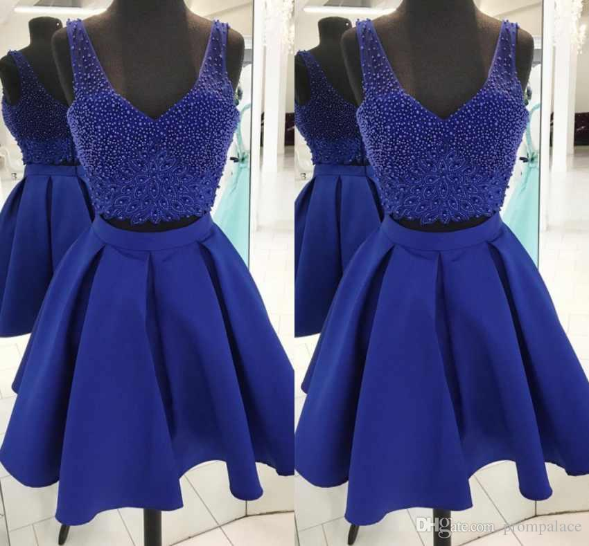 38c68dca62c Royal Blue Short Homecoming Dresses Two Pieces V Neck Sleeveless Beaded Top  Satin Knee Length Cocktail Party Gowns Sequin Dresses Cheap Sexy Classy  Dresses ...