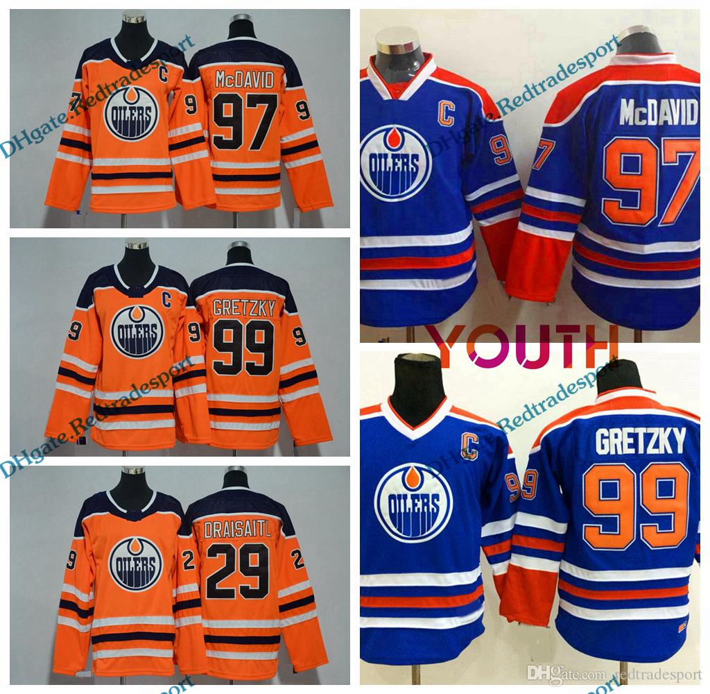 super popular 55406 1702a 2018 Youth Edmonton Oilers 99 Wayne Gretzky 97 Connor McDavid 29 Leon  Draisaitl Hockey Jerseys Kids Boys Connor McDavid Stitched Jersey