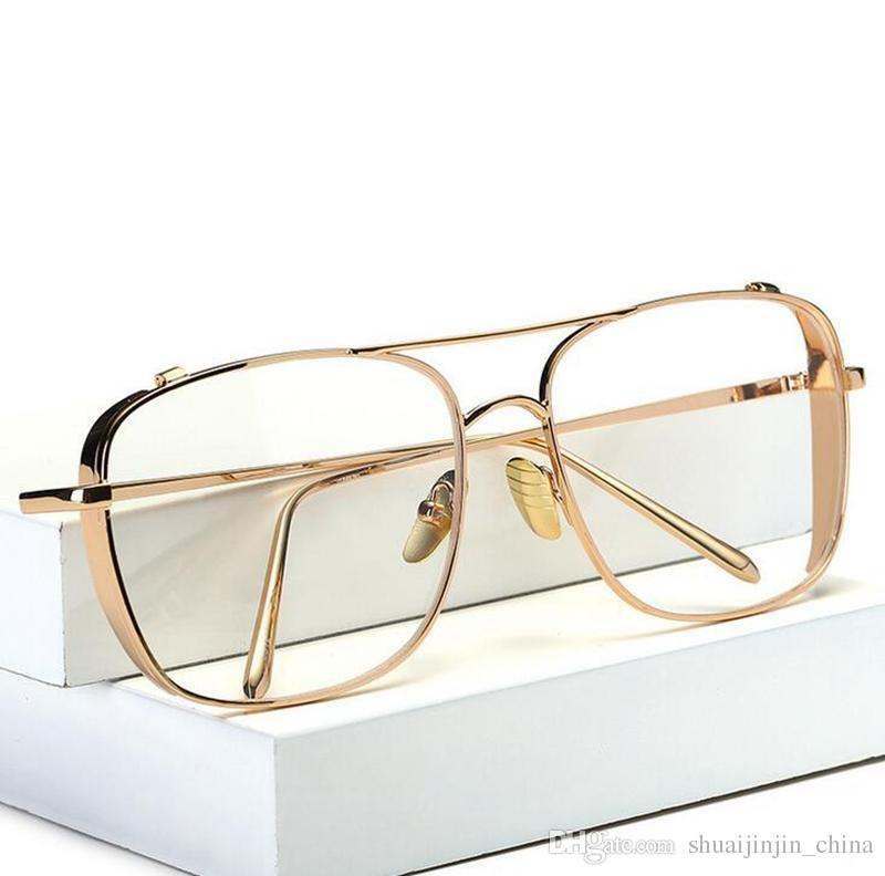 Three Colors Fashion Gold Metal Frame Eyeglasses For Women Female ...