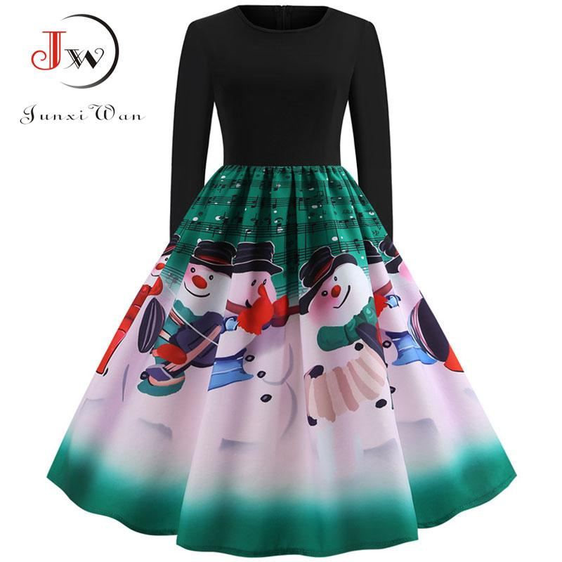 8ef5e3b0412fd 2018 Vintage Women Winter Dress 2018 Autumn Long Sleeve Plus Size Elegant  Party Dresses Casual Music Note Print Christmas Dress From Beke