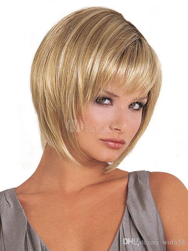 Wie Echthaar Mode Sexy Natürliche Damen Kurz Glatt Blond Volle
