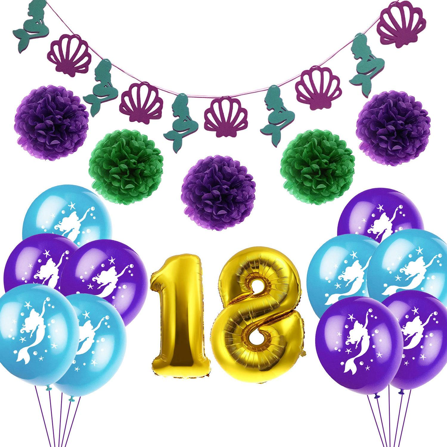 New 18th Birthday Mermaid Party Decoration Set Flag Paper Flower Balloon Supplies World Balloons Buy From Chengdaphone07