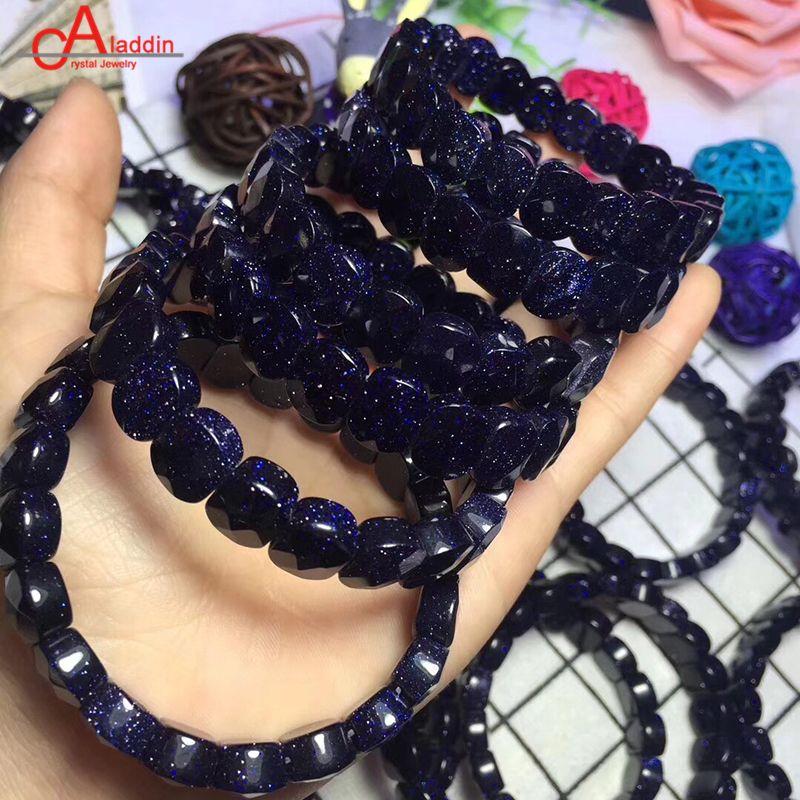 Aladdin Natural Blue Sand Crystal Bracelet Fashion jewelry Square Agat  Quartz Sparkling Stone Like Starry Sky Bangle Charm gift
