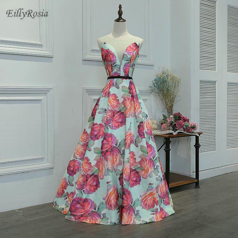 2018 Flower Printed Bridesmaid Dresses Sheer Neck A Line Wedding Guest Dress  for Wedding Party Prom Gowns Vestido Madrinha Online with  293.75 Piece on  ... 9fe9653a05d7