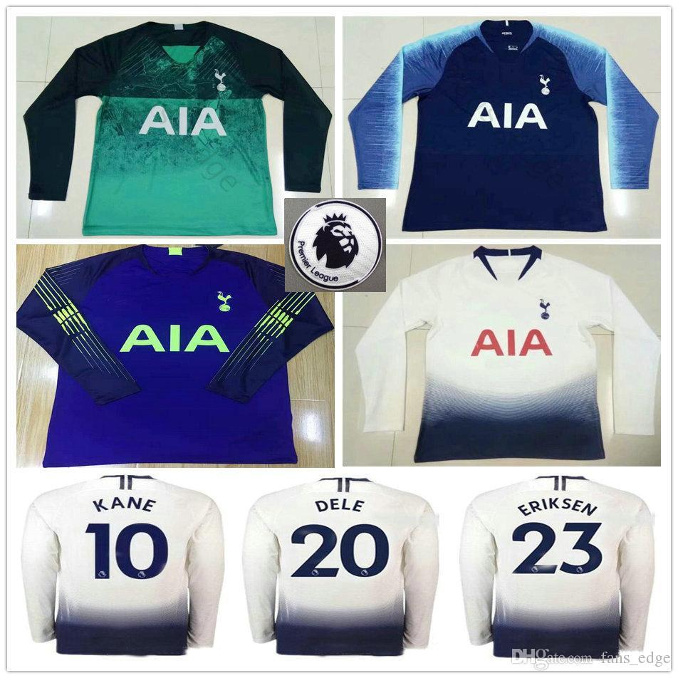 100% authentic 32a91 434d8 2018 2019 Premier League Tottenhames 10 KANE Long Sleeve Soccer Jerseys  LAMELA ERIKSEN DELE Custom Home Away 18 19 Hot Spur Football Shirt
