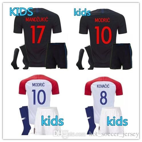 Kids Croácia MANDZUKIC Hrvatska MODRIC Football Kit Shirt PERISIC ... 1f77db1bdeedf