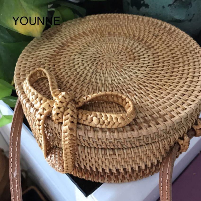 Younne Women Straw Bag Bali Island Handbag Female Round Butterfly