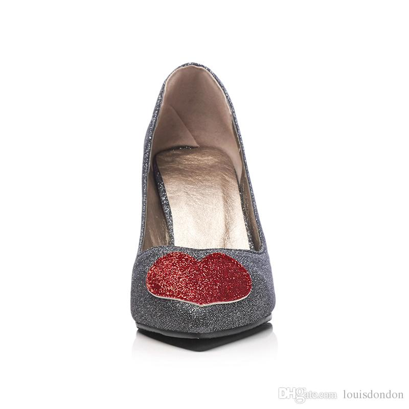 Cheap and High Quality Supplier Glitter Heart Shaped Pointed-toe High Heels Slip-on Pumps Women's Dress Shoes