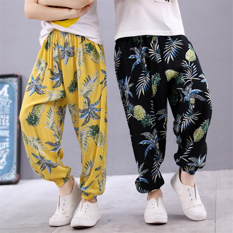 New Girls Pants Baby Girl Harem Pants Casual 2018 Summer Kids Children Air-Conditioner Sleepping Linen Trousers