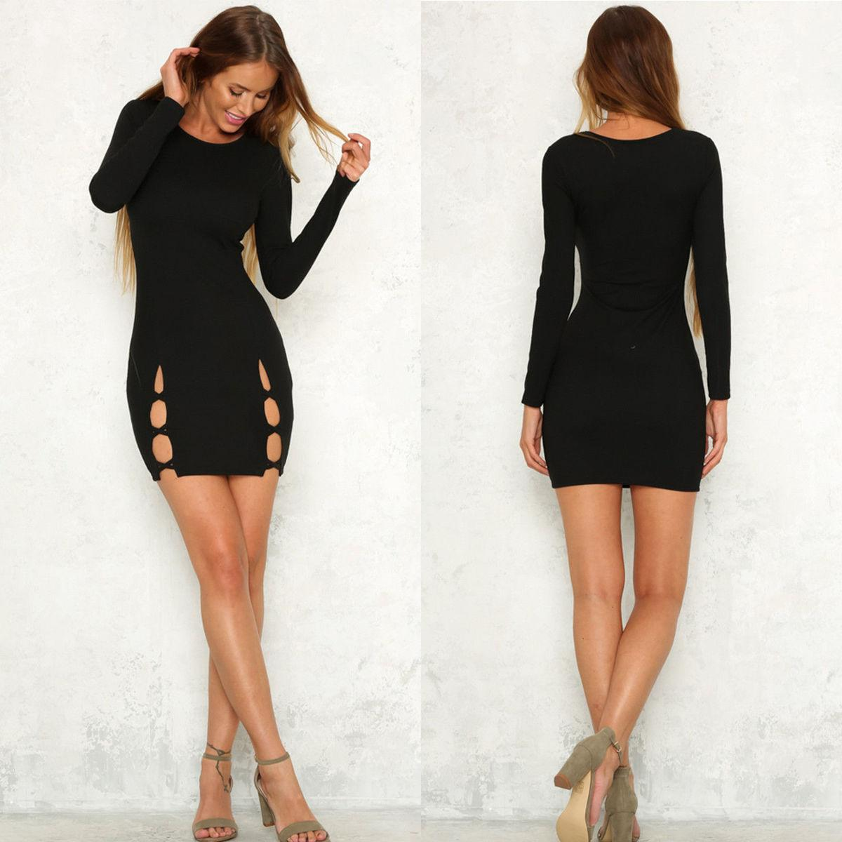a87134995e8 Sexy Women Casual Bandage Bodycon Long Sleeve Round Neck Autumn Evening  Party Short Mini Dress Solid Black White Lace Dress Casual Green Dresses  For Teens ...