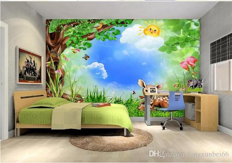 Murales Cameretta Bambini : Acquista foto personalizzata wallpaper rotolo cartoon animali della