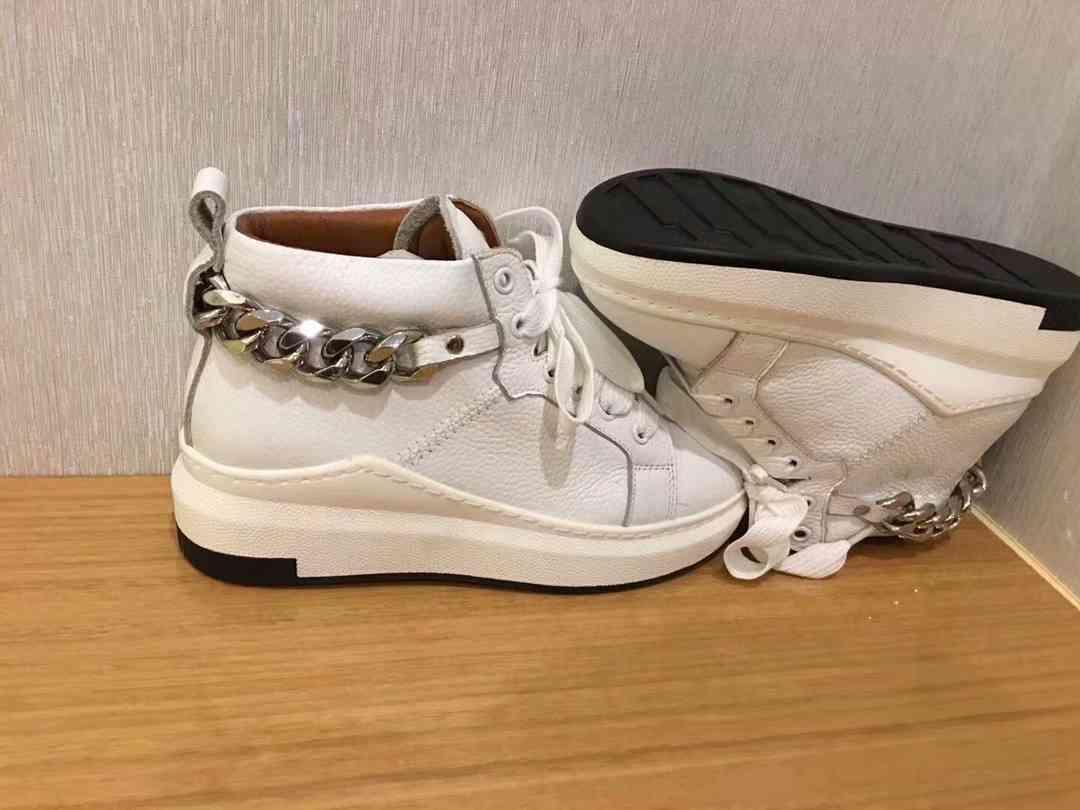 a814e1dc47d Acheter G 2018 Automne Tendance À La Mode Femmes Haute Aide Blanc  Chaussures À Fond Plat Casual En Métal Chaîne Collocation Cool Dames  Sneakers De  94.42 Du ...