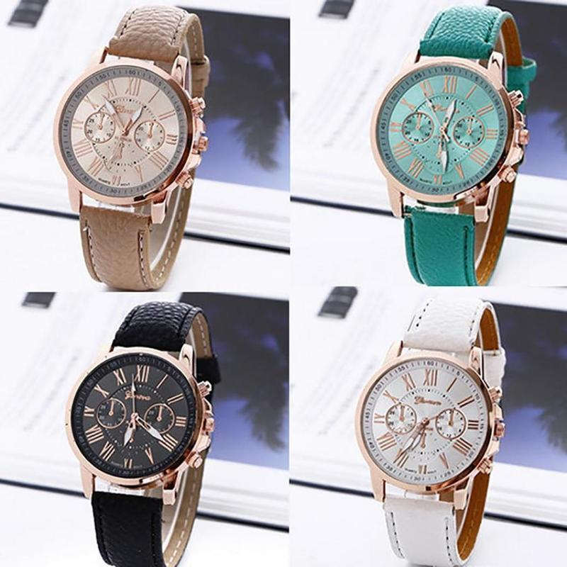 Wrist Watch Geneva Girls Roman Numerals Quartz Faux Leather Band Women Round Analog Men Alloy Fashion & Casual No Waterproof