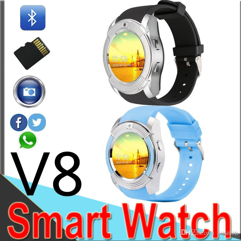 Hot V8 Smart Watches Round Face Screen smart watch with Bluetooth Music  Player for android IOS cellphone with Micro Sim TF card V810