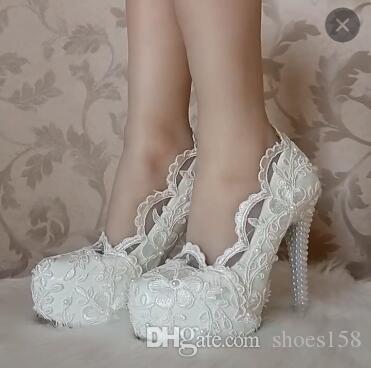 0bb5e99fc45d2e Acheter Chaussures De Mariage Pour Femmes Blanc Doux Fleurs Dentelle Plate  Forme Imperméable À Talons Hauts Strass Chaussures De Mariage Chaussures De  ...