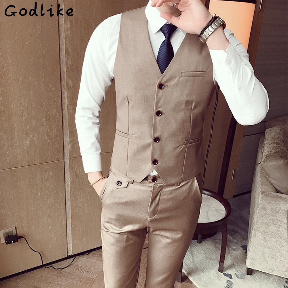 GODLIKE(Only Vest) Fashion Men s Office Formal Business best man Suit Vest  male Wedding Prom Party Waistcoat Custom Suits Groom