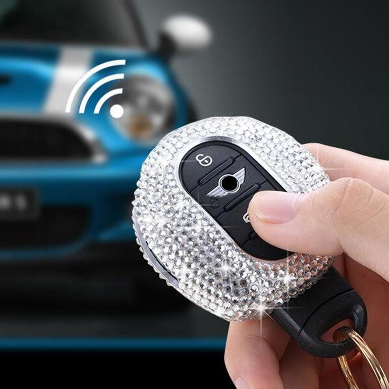 Bling Bling Crystals Car Key Fob Cap Case Cover With Plush Ball For