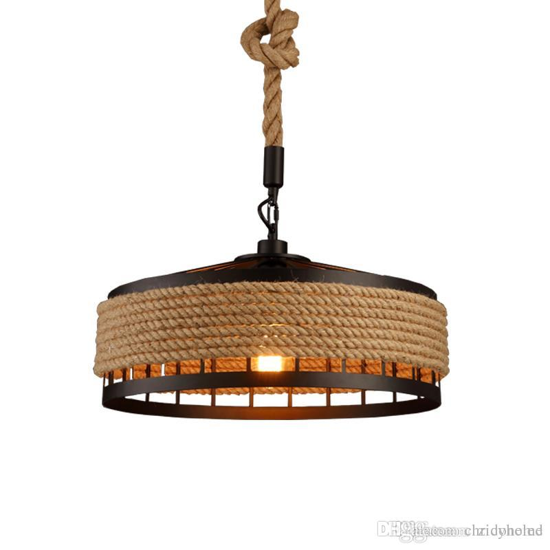ce3daf27559 Loft Hemp Rope Pendant Light Industrial Vintage Hanging Lights Iron   Rope  Chandeliers Droplight For Restaurant Bar Coffee Room Decoration 3 Light  Pendant ...