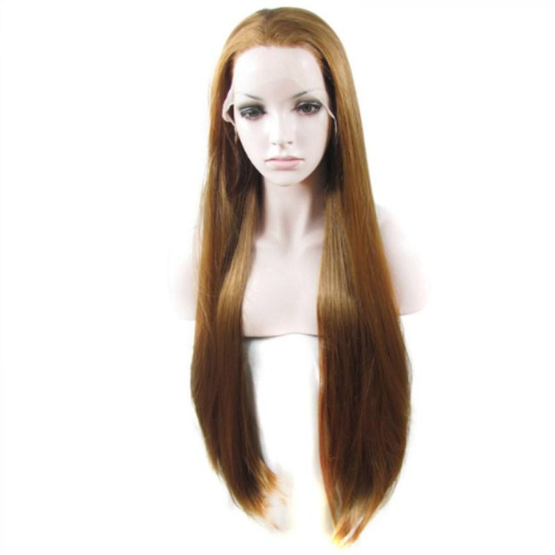 Luckystar Light Brown Long Straight Lace Front Wigs For Women Heat Resistant Free Part Wig 180% Density Cosplay Wig Lady 26 Inches