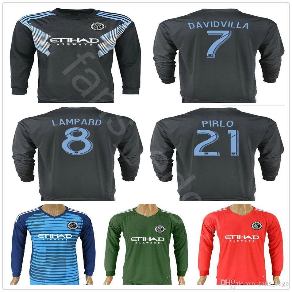 609c378b28f 2019 2018 New York City Long Sleeve Soccer Jerseys 7 DAVID VILLA LAMPARD  MORALEZ MATARRITA 21 PIRLO Custom 2018 Home Navy Blue Football Shirt From  Fans edge ...