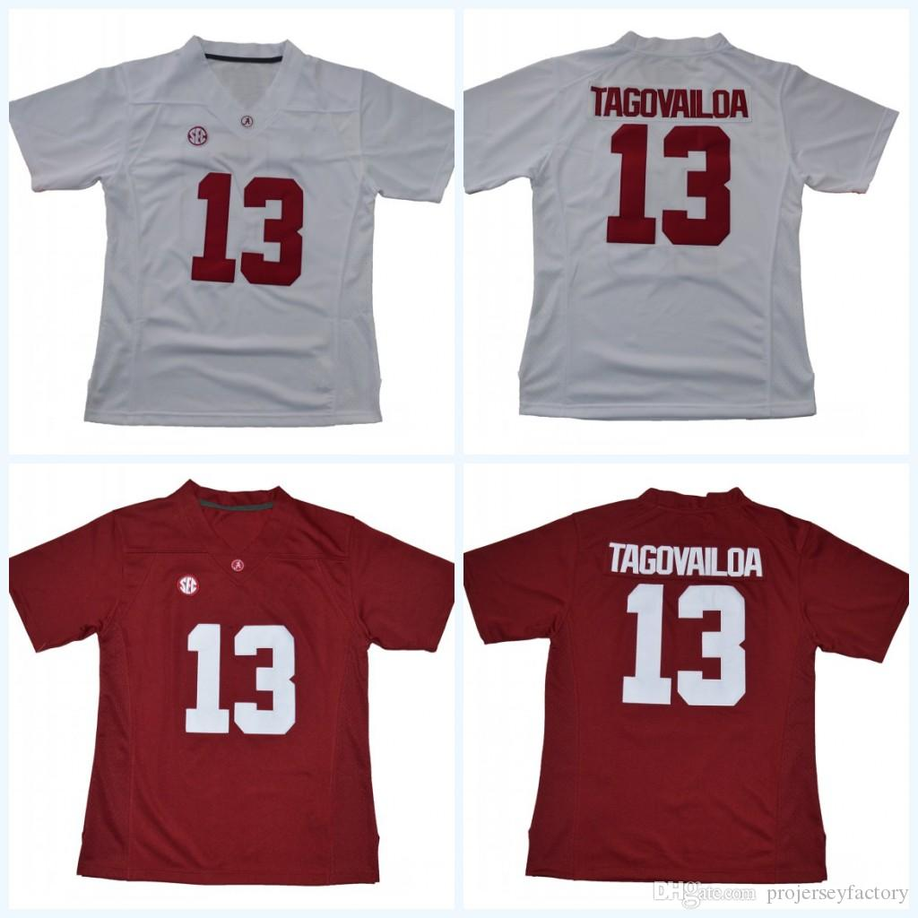 3b164b1a4 2019 Womens 13 Tua Tagovailoa Alabama Crimson Tide NCAA College Football  Jersey White Red Double Stitched Name   Number   Logo High Quailty From ...