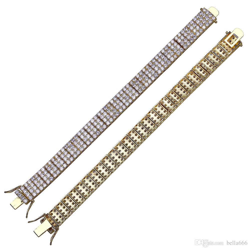 4 Rows Men Hiphop Luxury Cubic Zirconia Bracelet Copper Gold Plated Hip Hop Micro Pave CZ Stone Tennis Bangle Fashion Rapper Jewelry