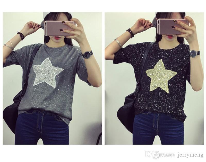 4XL Plus Size Women T shirt Summer Shiny Star Sequin Design Tops Short Sleeve Loose Casual Cotton Femme Shirts Blusa