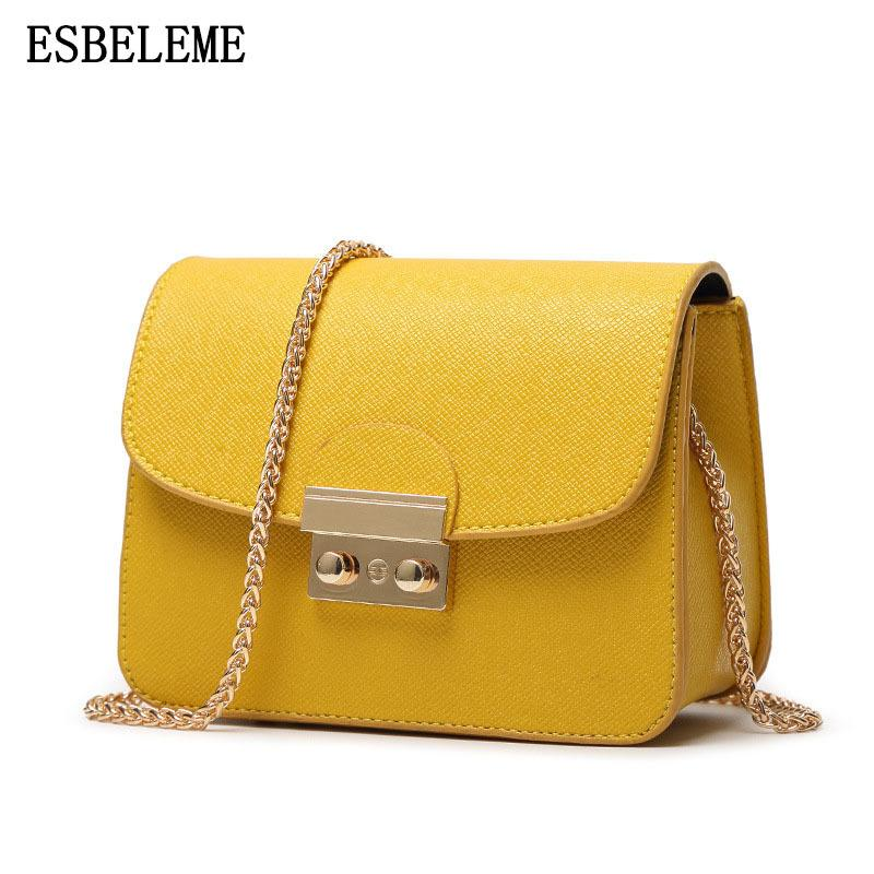 c8df4f14b0 2018 Hot Sale Female Faux Leather Flap Bags For Women Yellow White Ladies  Small Lock Chain Mini Crossbody Shoulder Bags YI413 Y18102004 Ladies  Handbags ...