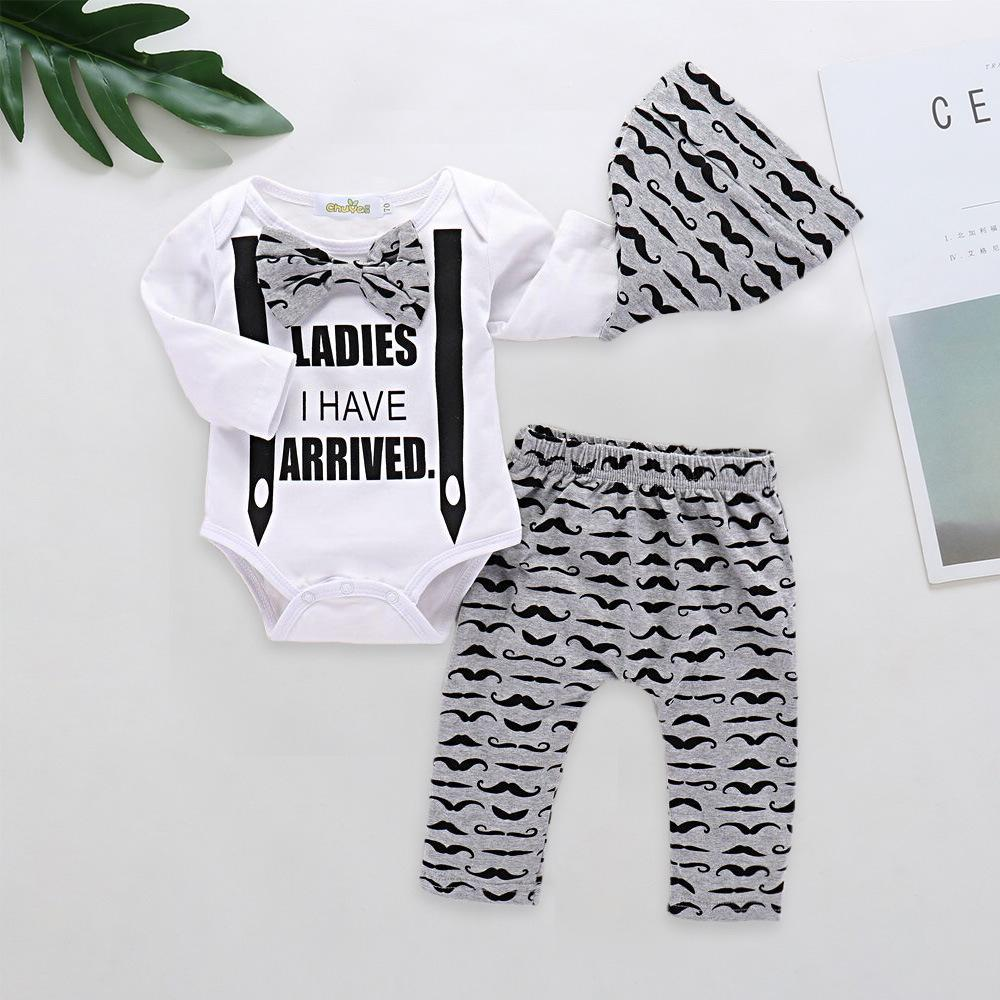 ad671e2d2b5 Baby Boys Letter Clothes Toddler Infant Cotton Set Romper+Pants+Hat ...