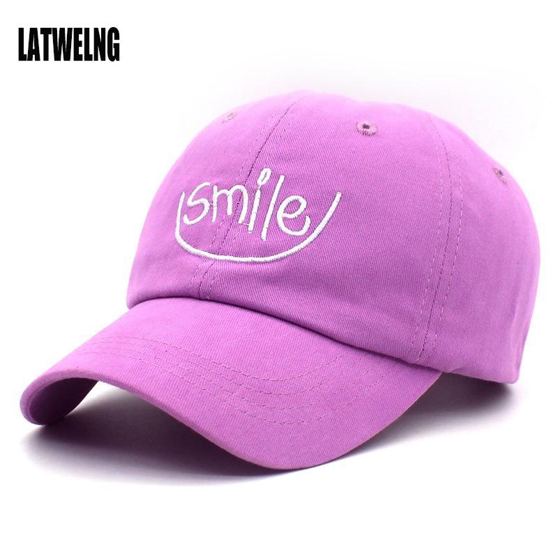 e1a99d3a75d New Fashion Smile Embroidery Snapback Visor Caps Dad Hat Baseball Cap For  Women Men Students Sun Hats Gorras Golf Bosco Sport Cheap Snapback Hats Hats  ...