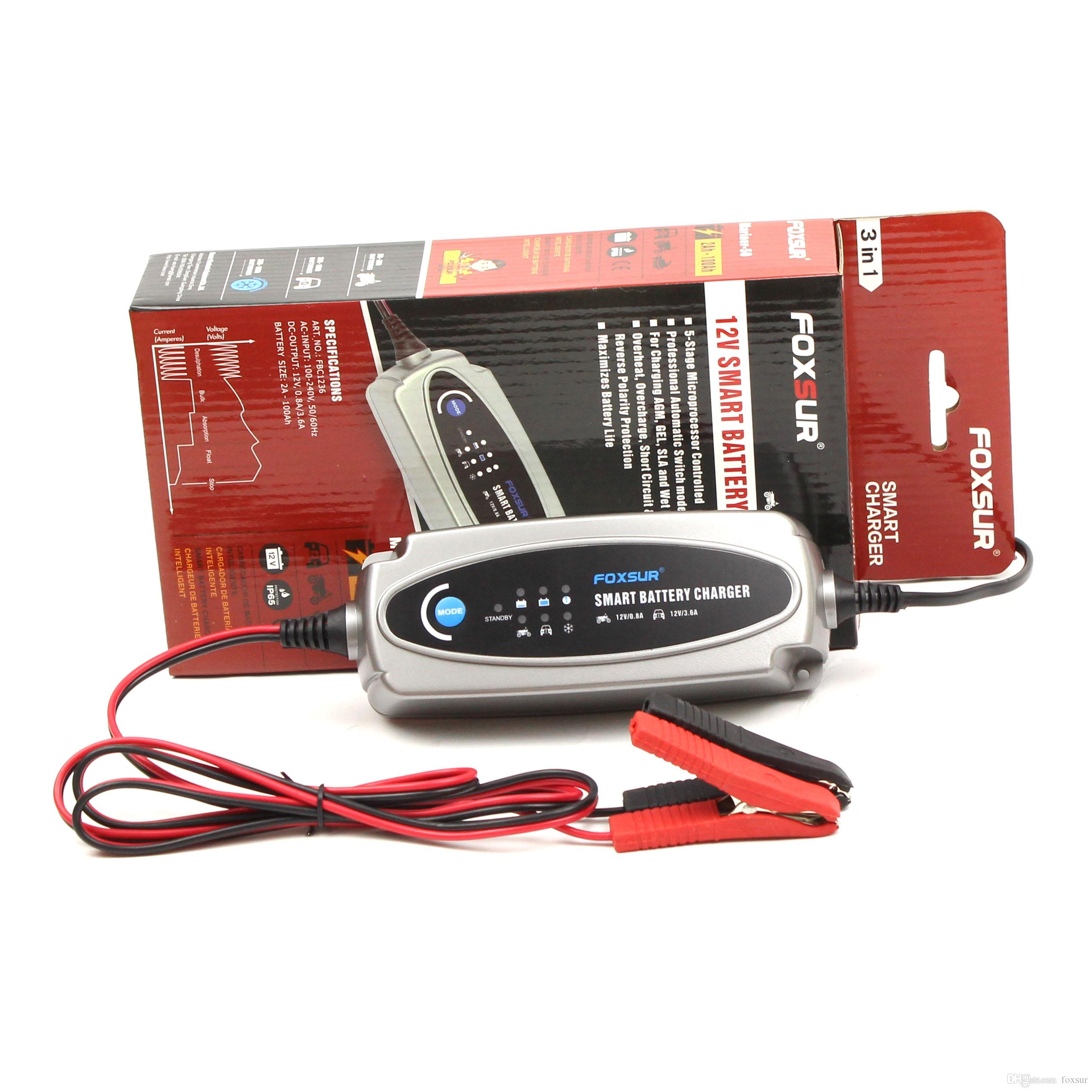 Foxsur 12v 3 6a Or 12v 0 8a Car Motorcycle Battery Charger Lead