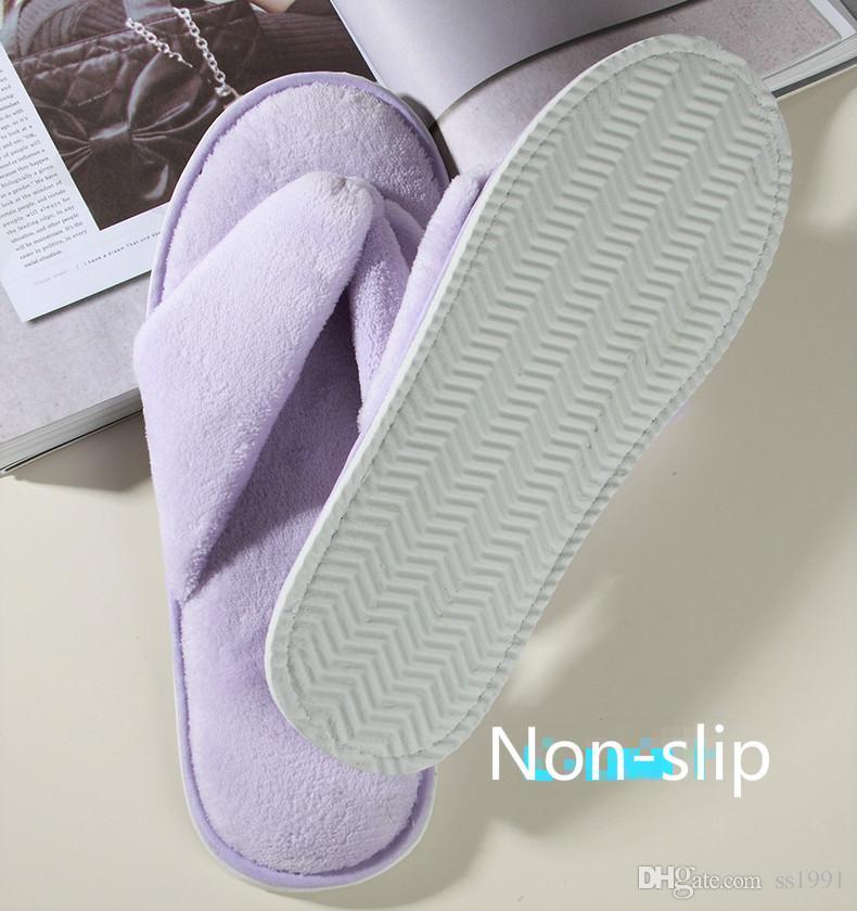 20118 유니섹스 일회용 슬리퍼 고급 호텔 침대 조식 SPA 클럽 하우스 즐거움 슬리퍼 비 슬립 소프트 패브릭 발 슬리퍼