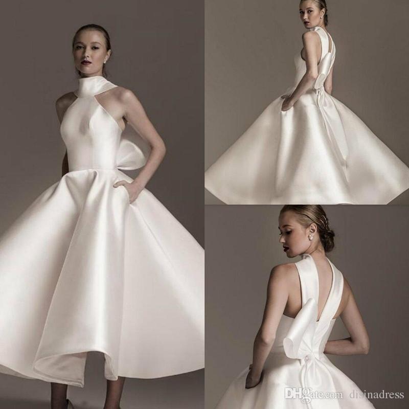 Tea Length Wedding Dresses with Pockets