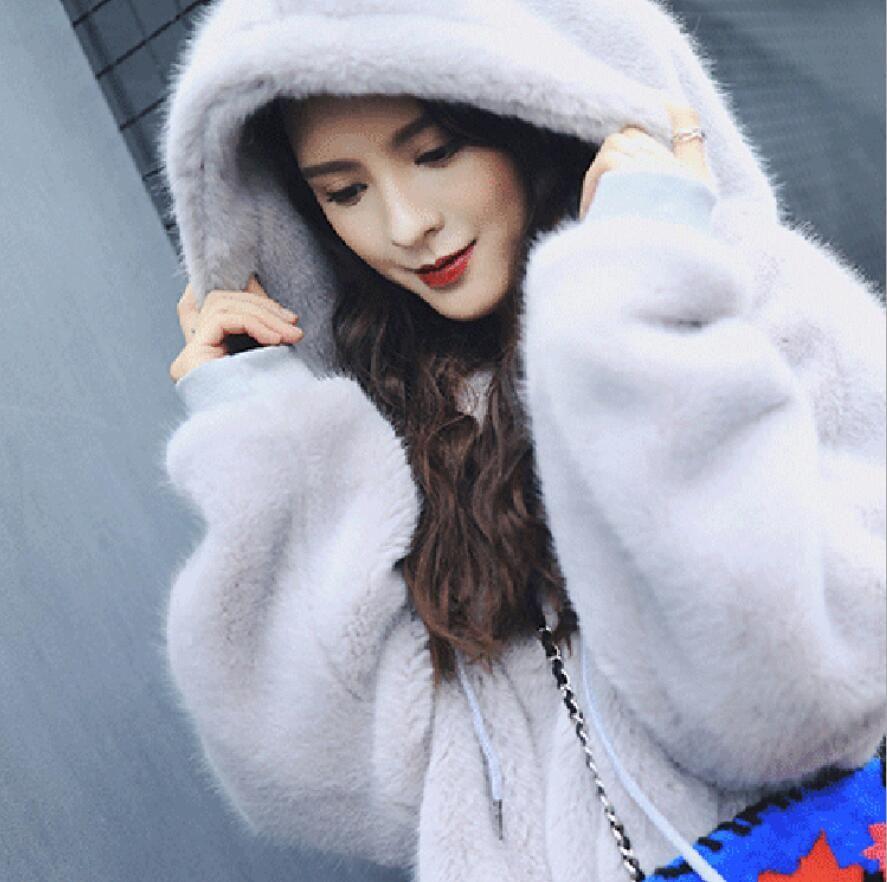 Compre Invierno De Alta Calidad Moda Coreana Espesar Pullover Con Capucha  De Piel Sintética Verde Mujer Niñas Moda Faux Fur Ocio Sportcoat A  83.06  Del ... 243061b6546