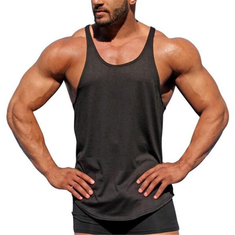 e8ffb0589 Bodybuilding Tank Top Men s Sleeveless Shirts Brand Clothing Fitness Men  Singlet Blank Cotton Workout Stringer Gyms Vest