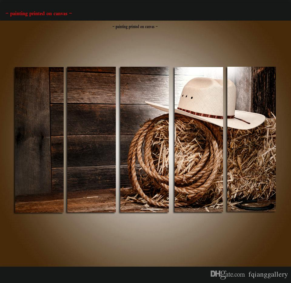2019 western art large 5 panel set modern contemporary canvas wall art print painting cowboy pictures canvas for living room home decor aset143 from