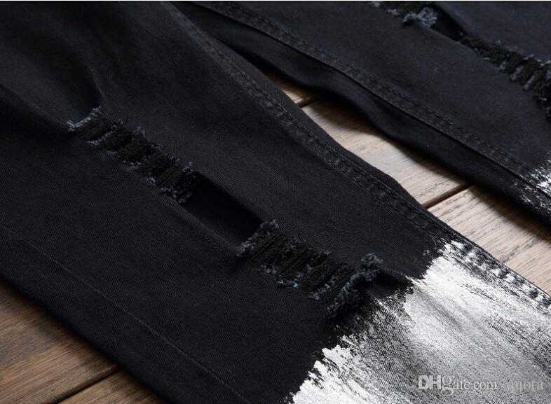Printemps Printemps Eté Tendance Mens Hole Jeans Personnalité Zipper Contraste Couleur Pantalon Élastique Hommes Long Jeans