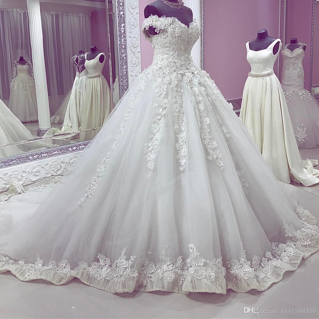 Pearls 3D-Petals Saudi Wedding Dresses Glamorous Lace Appliques Off Shoulder Wedding Dress Fashion Sleeveless Tulle Ball Gown Wedding Gowns
