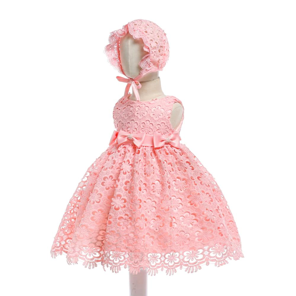 5896fbb15b Free Shipping Cute Cotton Lining Infant Dresses 2018 New Peach Baby Dress  For 1 Year Girl Birthday Toddler Party Gowns with Cap