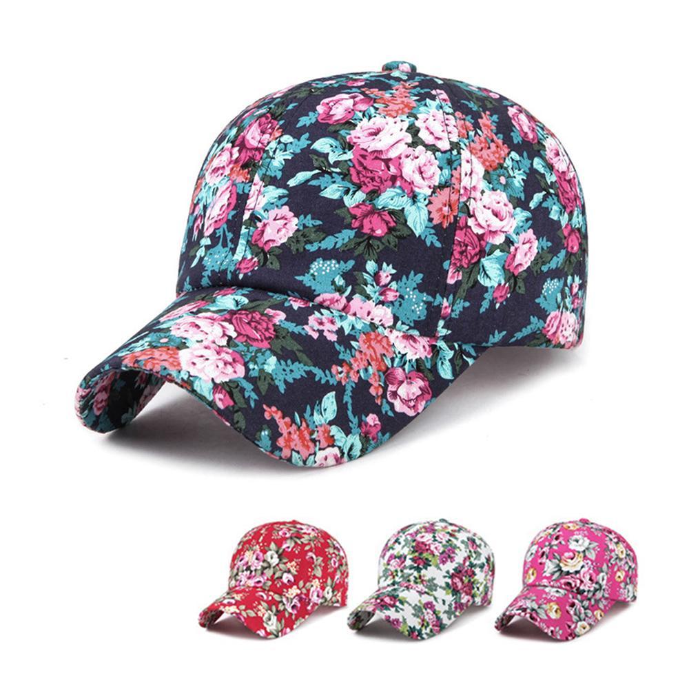 0795718c49 Boné de beisebol floral para as mulheres verão praia moda flor chapéu de  sol respirar livremente boné de osso de malha com mulheres senhora ...