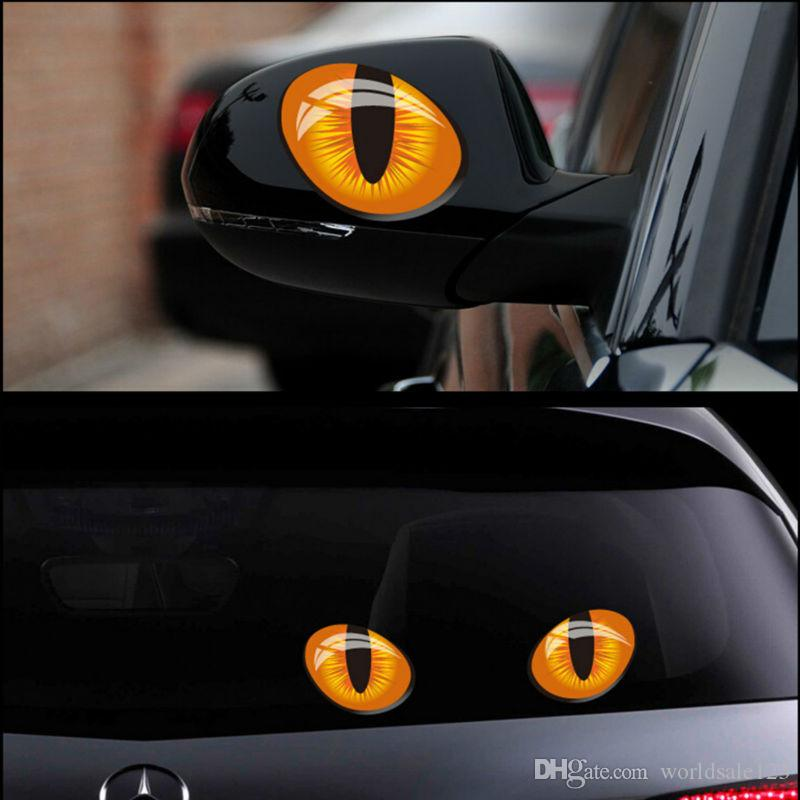 2pcs Cute Simulation 3D Cat Eyes Car Stickers Vinyl Decal for Rearview Mirror Car Head Engine Cover Windows Decoration Graphics 12*10cm