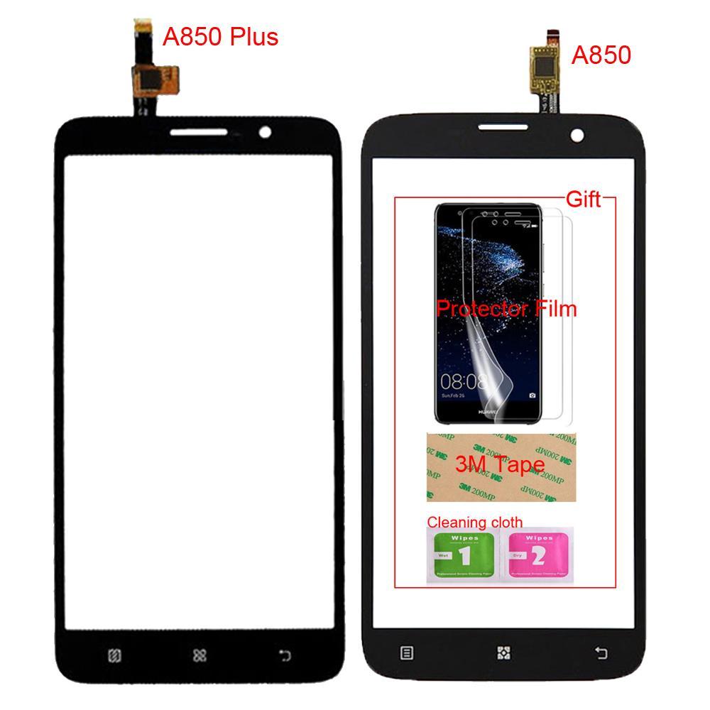 Ecran Lcd Pc 55 TouchGlass Telephone Mobile Pour Lenovo A850 Plus Tactile Avant En Verre Digitizer Panneau Lentille Capteur Cadeau