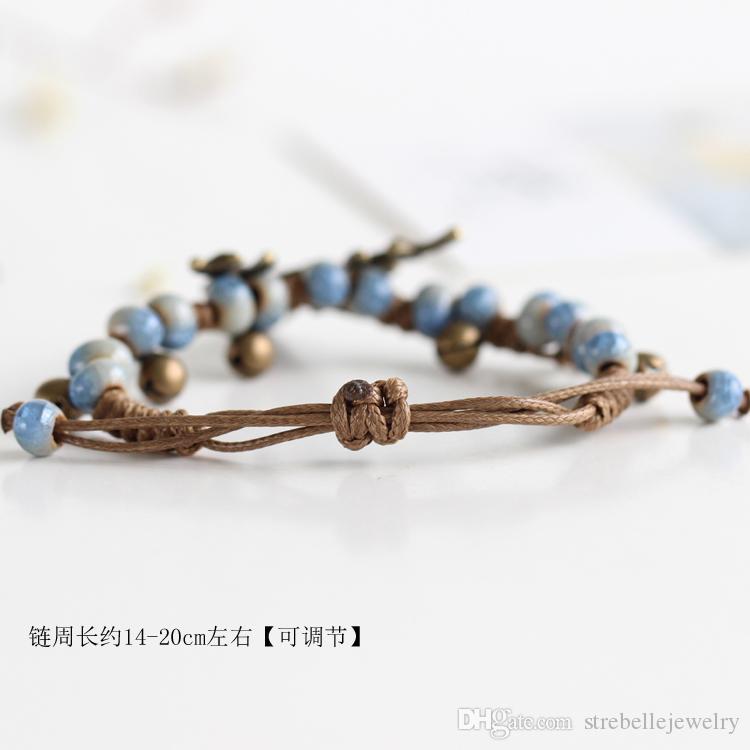 2018 nuovi arrivi braccialetti originali le donne cervi modello 6 pezzi etnici bracciali in ceramica fatti a mano con gioielli campana all'ingrosso