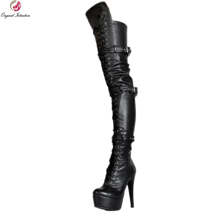 f0fecb2ffc6 Original Intention New Sexy Women Over The Knee Boots Fashion Round Toe  Thin Heels Boots Nice Black Shoes Woman Plus Size 4 15 Boots For Girls Fur  Boots ...